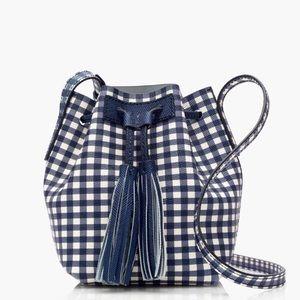 NWOT J Crew Gingham Mini Bucket Bag Crossbody
